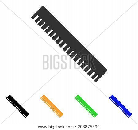 Ruler icon. Vector illustration style is a flat iconic ruler symbol with black, grey, green, blue, yellow color versions. Designed for web and software interfaces.