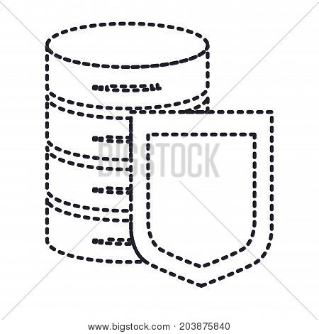 server hosting storage and protection shield icon in monochrome silhouette dotted vector illustration