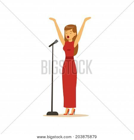 Beautiful woman singer in red dress performing a song vector Illustration on a white background
