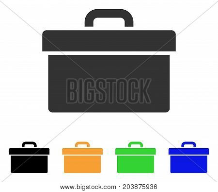 Toolbox icon. Vector illustration style is a flat iconic toolbox symbol with black, grey, green, blue, yellow color versions. Designed for web and software interfaces.