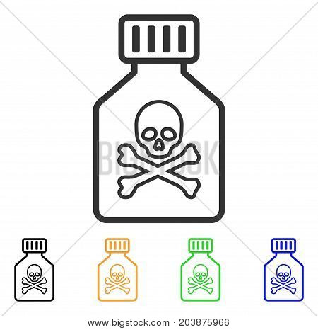 Toxic Vial icon. Vector illustration style is a flat iconic toxic vial symbol with black, grey, green, blue, yellow color versions. Designed for web and software interfaces.
