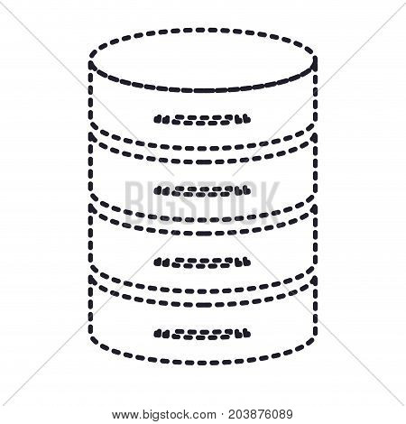server hosting storage icon in monochrome silhouette dotted vector illustration