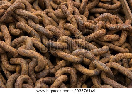 Tangle of Rusty Chains in pile background image