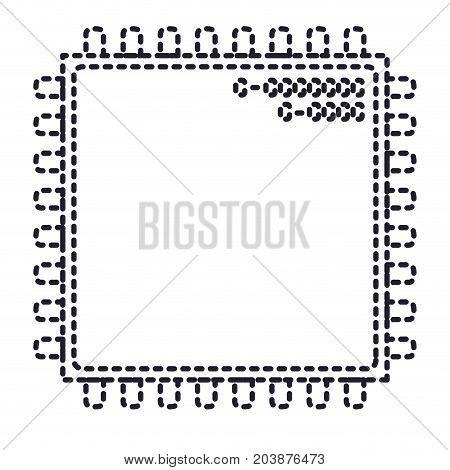 microchip closeup icon in monochrome silhouette dotted vector illustration