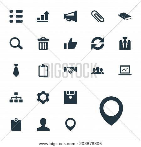Elements Fastener, Note Pad, Textbook And Other Synonyms Staff, Tie And Pin.  Vector Illustration Set Of Simple Conference Icons.