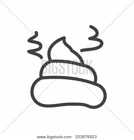 Vector Pile Of Poo Element In Trendy Style.  Isolated Shit Outline Symbol On Clean Background.