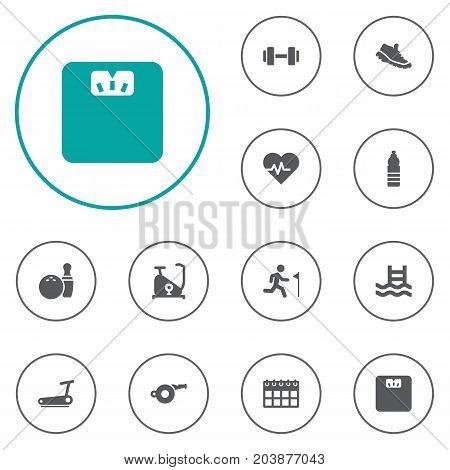 Collection Of Heartbeat, Running, Kegling And Other Elements.  Set Of 12 Bodybuilding Icons Set.