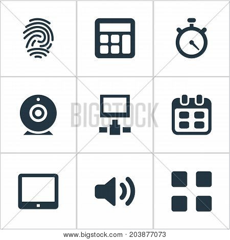 Elements Fingerprint, Network, Adding Device And Other Synonyms Videochat, Table And Day.  Vector Illustration Set Of Simple Digital Icons.
