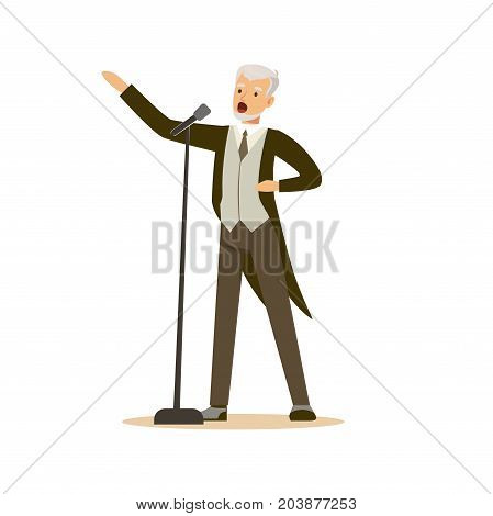 Opera singer man wearing an elegant tuxedo performing an aria vector Illustration on a white background