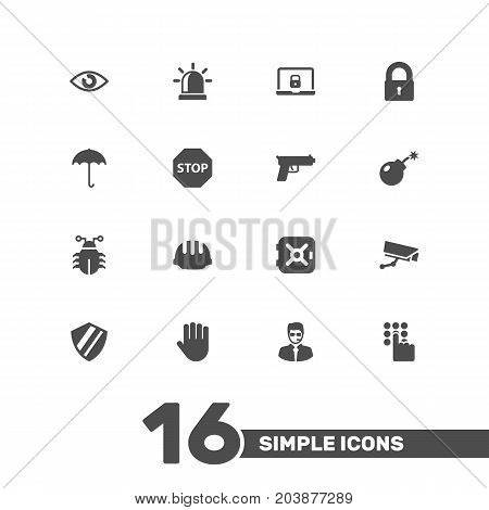 Collection Of Protection, Hardhat, Shot And Other Elements.  Set Of 16 Procuring Icons Set.