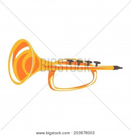 Trumpet, musical instrument cartoon vector Illustration on a white background