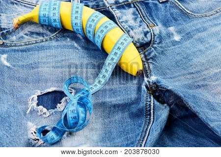 Mens Denim Pants Crotch With Banana As Male Sexuality Concept
