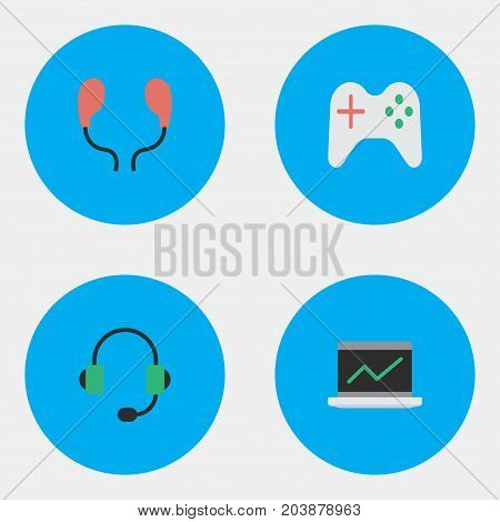 Elements Notebook, Gamepad, Microphone And Other Synonyms Microphone, Joystick And Earphone.  Vector Illustration Set Of Simple Gadget Icons.
