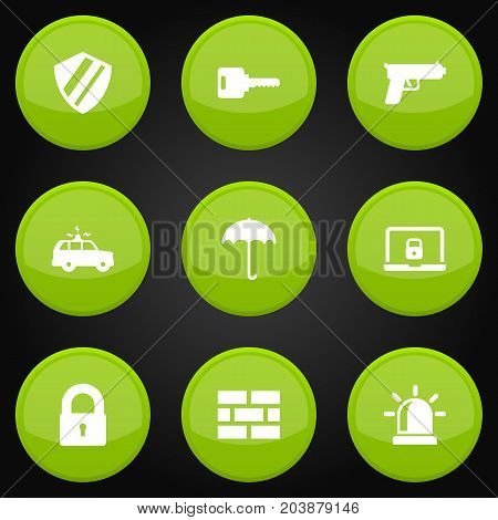 Collection Of Notebook, Insurance, Protection And Other Elements.  Set Of 9 Security Icons Set.