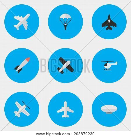 Elements Aircraft, Bomb, Flying Vehicle And Other Synonyms Craft, Man And Copter.  Vector Illustration Set Of Simple Aircraft Icons.