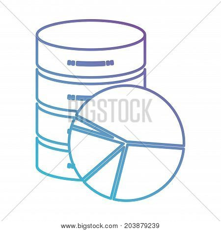 server hosting storage icon and available space circular graphic in color gradient silhouette from purple to blue vector illustration