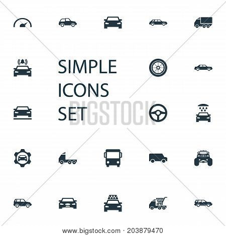 Elements Commerce, Cab, Steering Wheel And Other Synonyms Truck, Drive And Trucks.  Vector Illustration Set Of Simple Transport Icons.