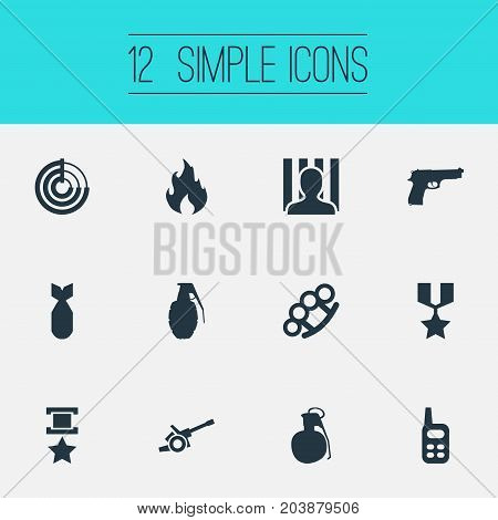 Elements Jailer, Medal, Bombshell And Other Synonyms Flame, Sniper And Fire.  Vector Illustration Set Of Simple War Icons.