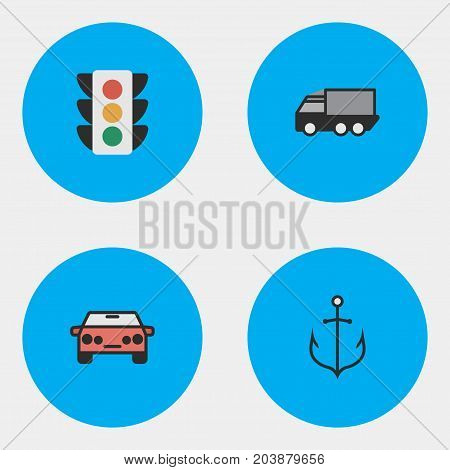 Elements Traffic Lights, Lorry, Auto And Other Synonyms Lights, Lorry And Sedan.  Vector Illustration Set Of Simple Shipping Icons.