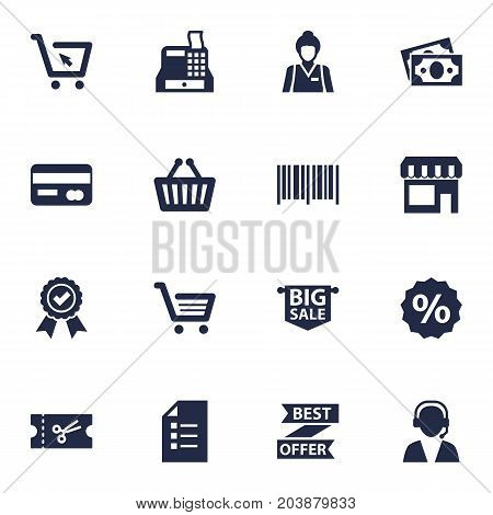 Collection Of Identification Code, Online Support, Payment And Other Elements.  Set Of 16 Magazine Icons Set.