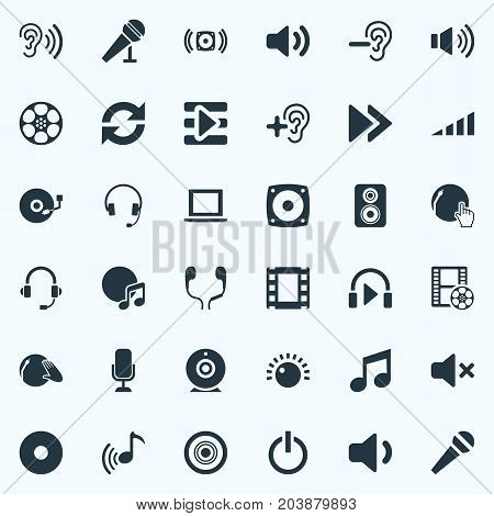 Elements Ear, Earphones, Subwoofer And Other Synonyms Mute, Off And Earphones.  Vector Illustration Set Of Simple Dj Icons.