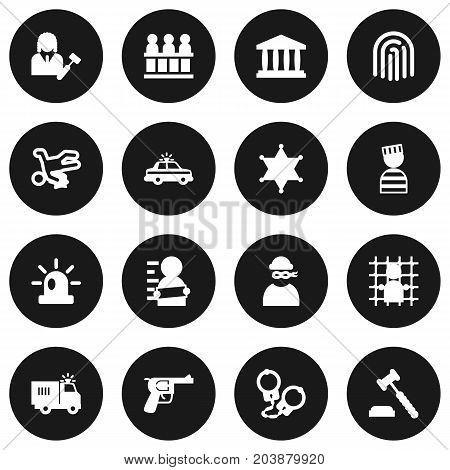 Collection Of Thief, Jury, Judge Gavel And Other Elements.  Set Of 16 Criminal Icons Set.