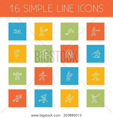 Collection Of Ice Skating, Rocket, Diving And Other Elements.  Set Of 16 Sport Outline Icons Set.