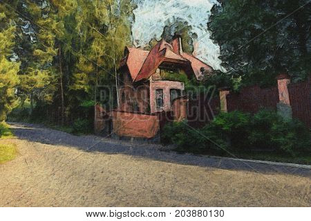 Art technique of drawing paints. Country estate- painting on canvas. House fences and driveways.