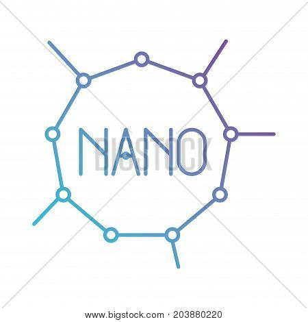 nano molecular structure in color gradient silhouette from purple to blue vector illustration