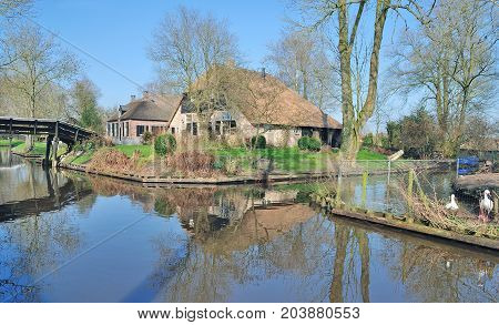 Idyllic Village Of Giethoorn Near Ijsselmeer In Netherlands,benelux