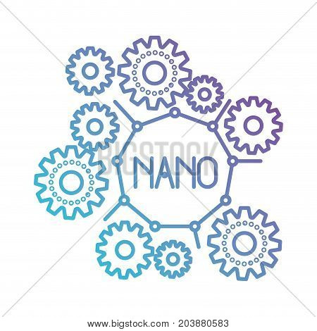 set gear machinery with nano molecular structure in color gradient silhouette from purple to blue vector illustration