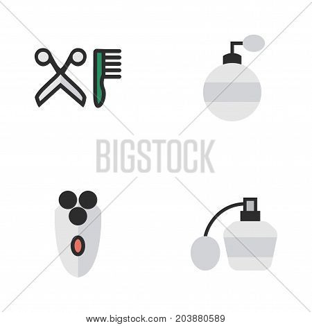 Elements Fragrance, Shaving Machine, Perfume And Other Synonyms Shaving, Scissors And Shaver.  Vector Illustration Set Of Simple Shop Icons.