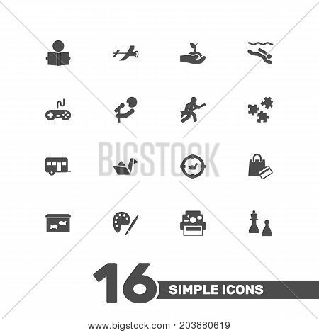 Collection Of Plant, Flying, Checkmate And Other Elements.  Set Of 16 Entertainment Icons Set.