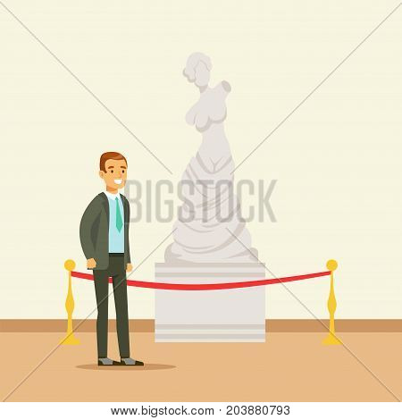 Young man viewing antique statue at the museum exhibition, people attending museum art gallery vector Illustration