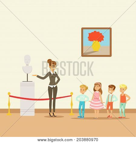 Kids in museum looking at classical work of art, school trip to museum vector Illustration