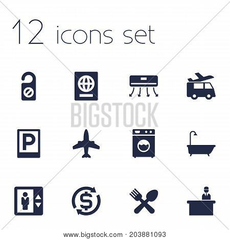 Collection Of Washer Machine, Lift, Currency And Other Elements.  Set Of 12 Motel Icons Set.