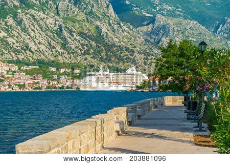 Montenegro, Prcanj - June 04/2017: Tourists On A Large Cruise Liner Go On Long Voyage.