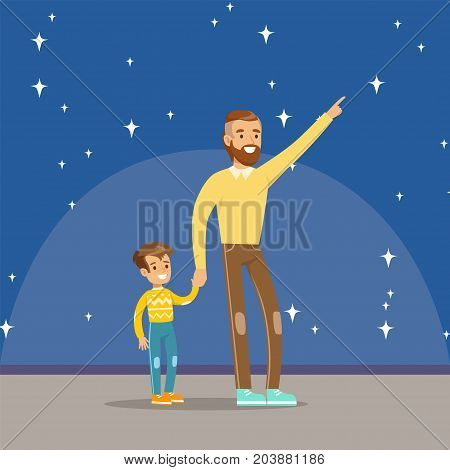 Father telling his son about the stars at the planetarium horizontal vector Illustration