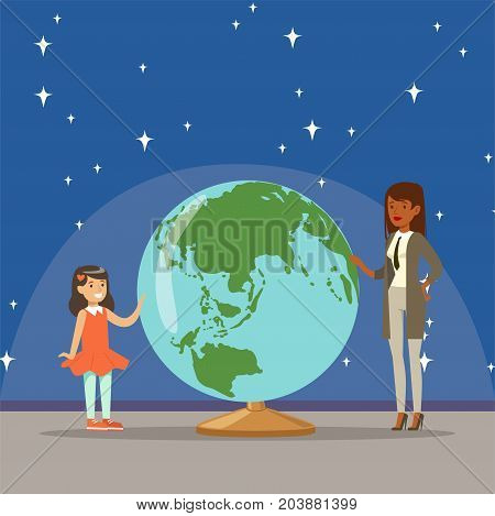 Mother telling her daughter about earth planet at the planetarium horizontal vector Illustration