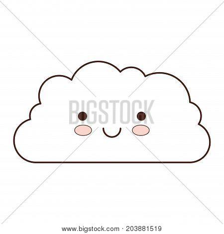 cloud cartoon kawaii in monochrome silhouette vector illustration