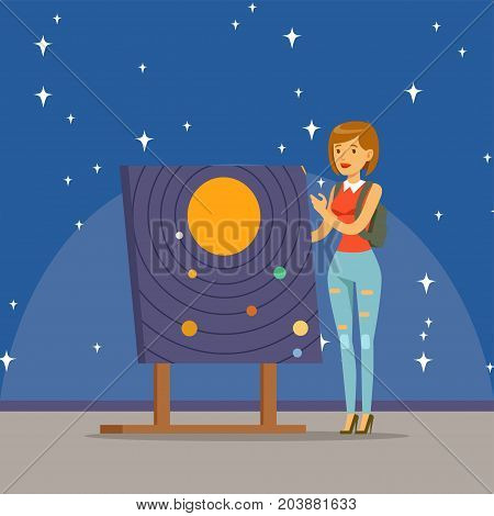 Young woman learning about the solar system at the planetarium horizontal vector Illustration