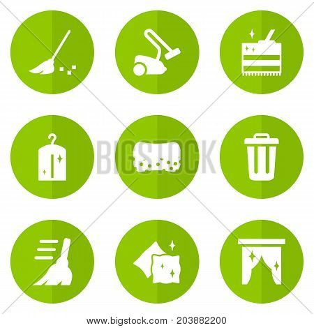 Collection Of Wisp, Curtain, Broom And Other Elements.  Set Of 9 Harvesting Icons Set.