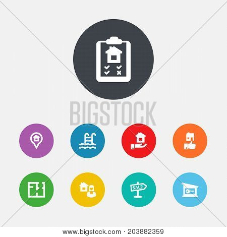 Collection Of Option, Pin, Advertisement And Other Elements.  Set Of 9 Estate Icons Set.