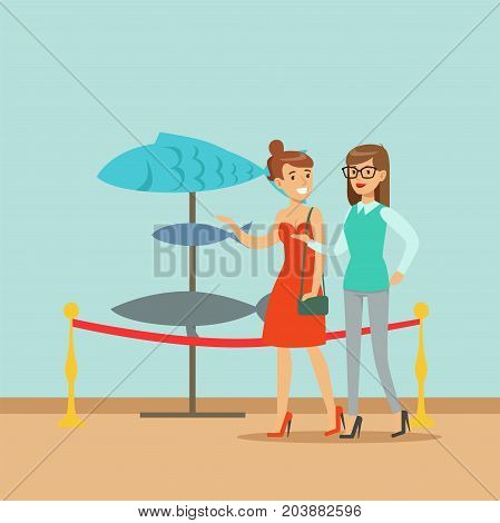 Two young women watching exhibits with fish at the exhibition in the museum vector Illustration