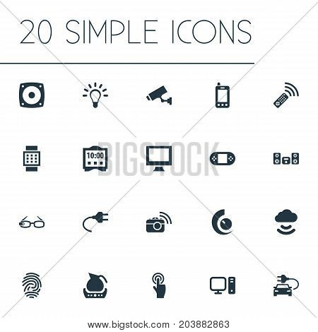 Elements Bulb, Interactive Display, Teapot And Other Synonyms Interactive, Cloud And Watch.  Vector Illustration Set Of Simple Internet Icons.