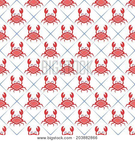Maritime mood, Seamless nautical pattern with crabs