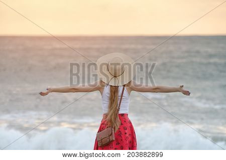 Girl Stands On The Shore Of The Ocean Outstretched Arms. Sunset Time. Back View