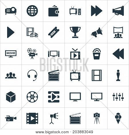 Elements Video Camera, Viewers, Virtual Reality And Other Synonyms Rearward, 3D And Camera.  Vector Illustration Set Of Simple Film Icons.