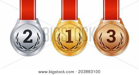 Vector isolated gold silver and bronze medals champion prizes winner awards.