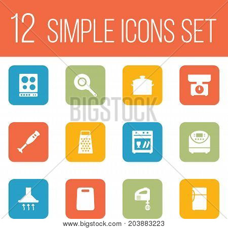 Collection Of Washing Machine, Cooking, Cutting And Other Elements.  Set Of 12 Kitchen Icons Set.